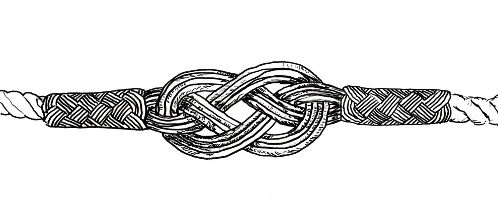 Endlosknoten an bunten Freindschaftsbändern. Feinsilber, Silberdraht Kunst, i-must-have.it