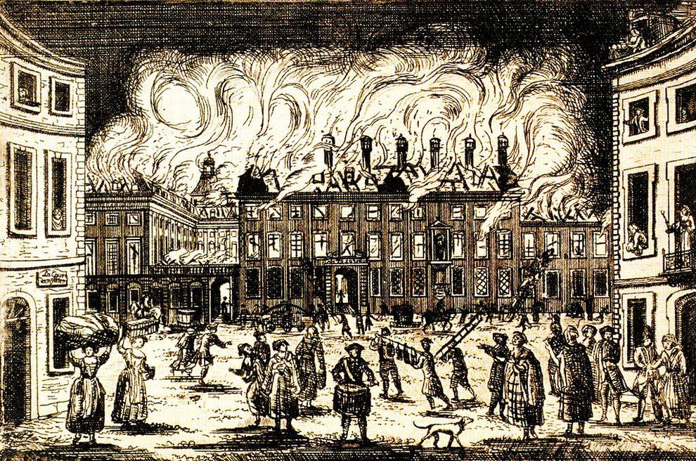 Brand des kurfürstlichen Schlosses in Bonn 1777 – Radierung von François Rousseau