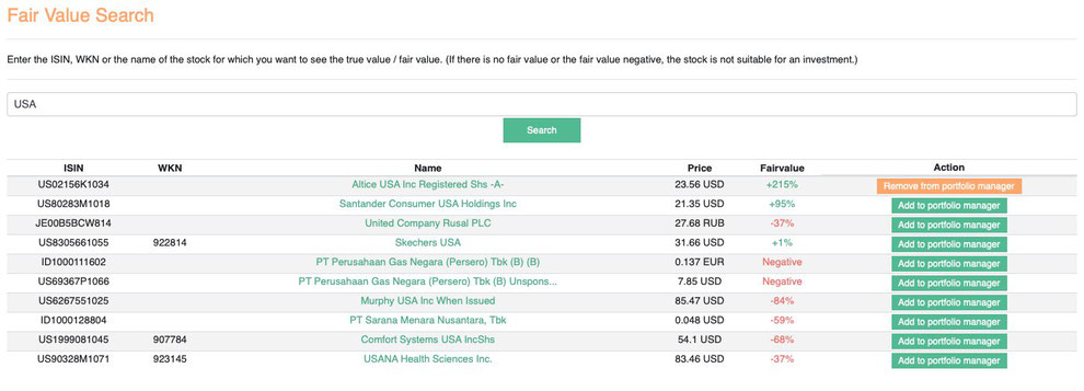 Fair Value Stock search