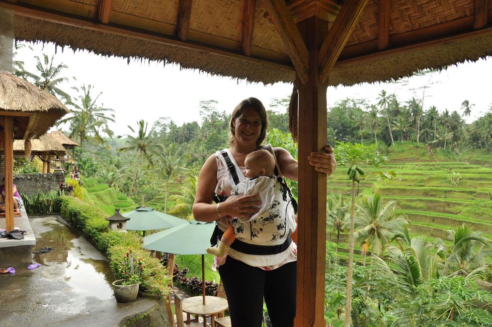 Manduca im Härtetest in den Tropen- Mit Baby in Bali bei den Reisfeldern