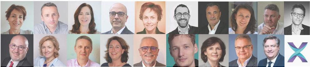 Mosaïque de portraits des membres du réseau Flexter