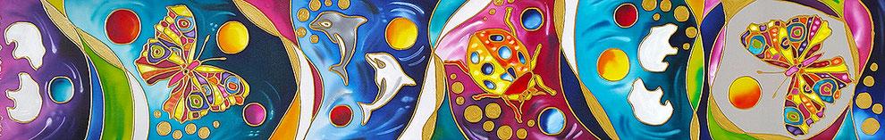 """Edda Clasen, """"Dream"""", 30 x 170 cm, 100% silk"""