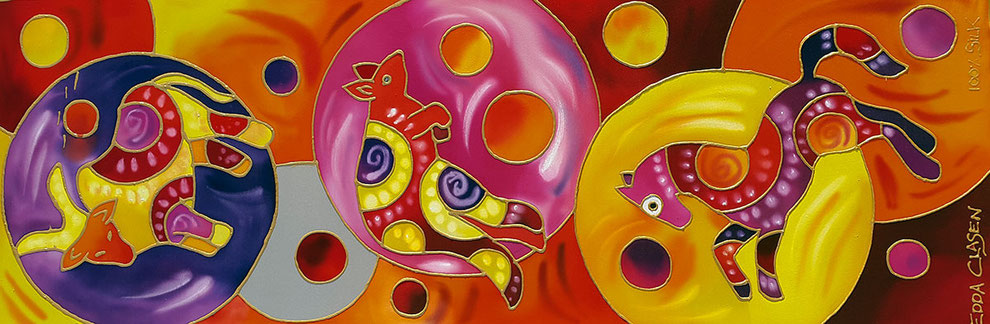 "Edda Clasen, ""Australia"", 30 x 90 cm, 100% silk"