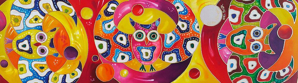 "Edda Clasen, ""Superbúhos"", 45 x 150 cm, 100 % silk"