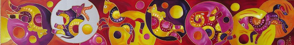 "Edda Clasen, ""Australia"", 30 x 170 cm, 100 % silk"