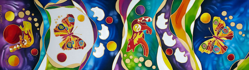 """Edda Clasen, """"Bayern"""", 45 x 150 cm, 100 % silk"""