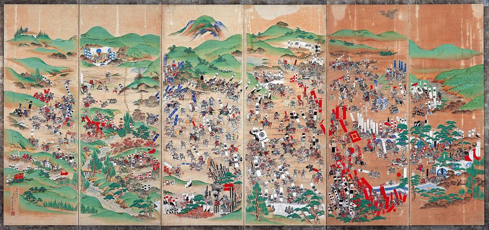 Darstellung der Schlacht von Sekigahara aus der Edo-Zeit, auf einer Wandvertäfelung im Schloss von Osaka