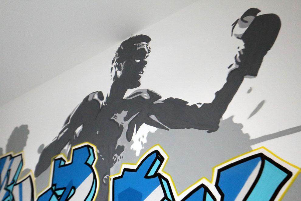 boxer im kinderzimmer mit wandmalerei graffiti k nstler und auftrag. Black Bedroom Furniture Sets. Home Design Ideas