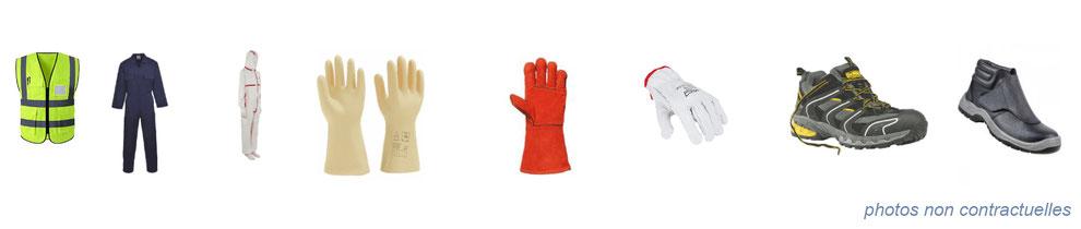 équipement de protection individuelle : gilets jaunes, combinaisons de travail, gants, chaussures de sécurité
