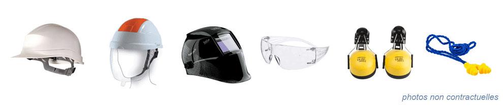 équipement de protection individuelle : casques , lunettes, protections auditives