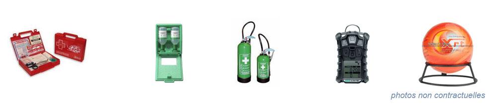 équipement de protection individuelle : pharmacie d'urgence, extincteurs et premiers secours, boule anti-feu, protection incendie