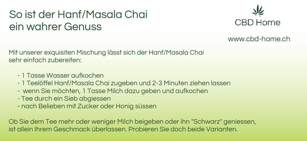 Mit unserer exquisiten Mischung lässt sich der Hanf/Masala Chai sehr einfach zubereiten.