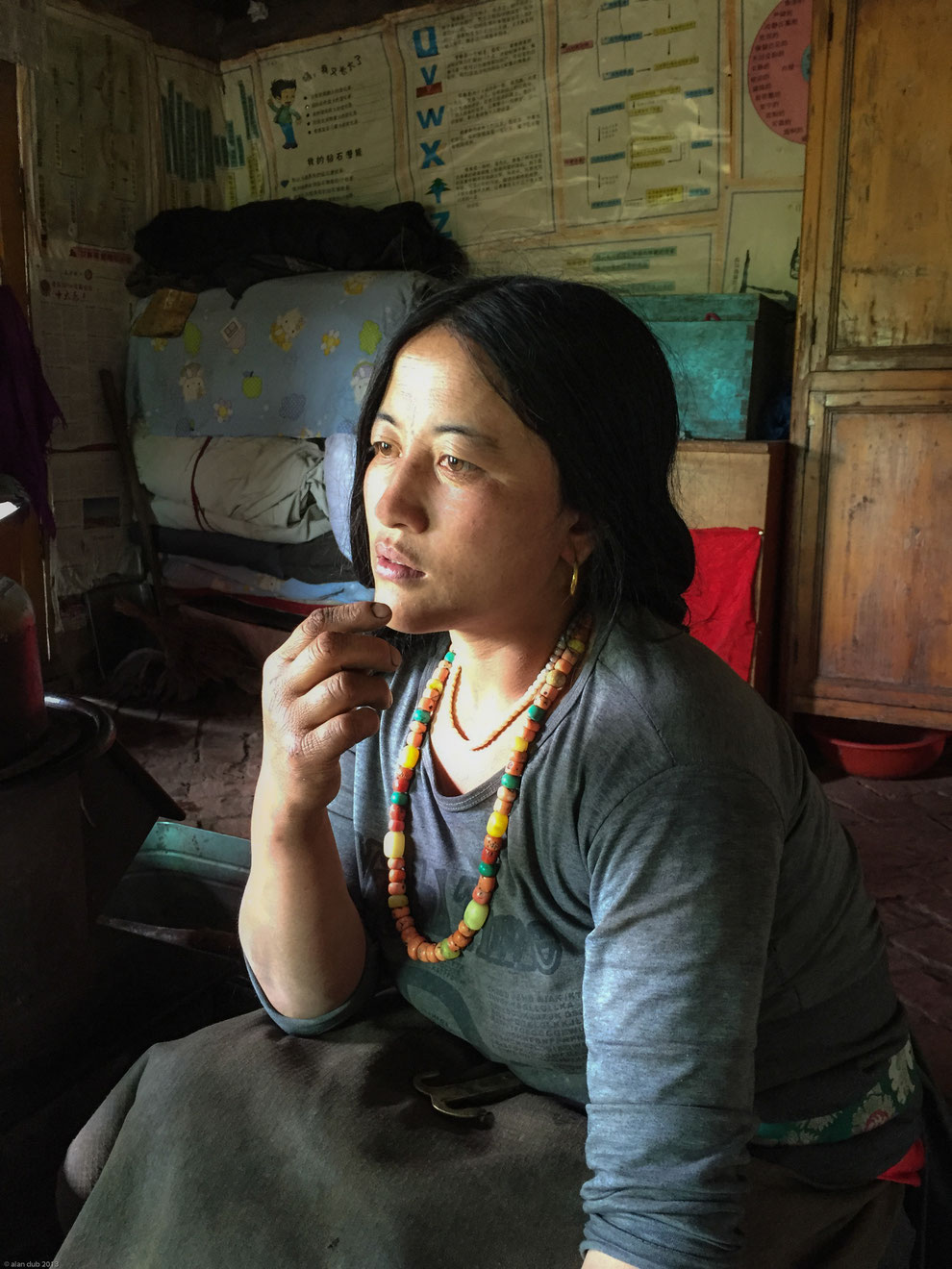 Femme tibétaine vivant sur les hauts plateaux