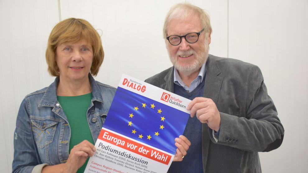 Moderatorin Marion Lambeck und Initiator Reinhard Kuchel laden zur Diskussion ein