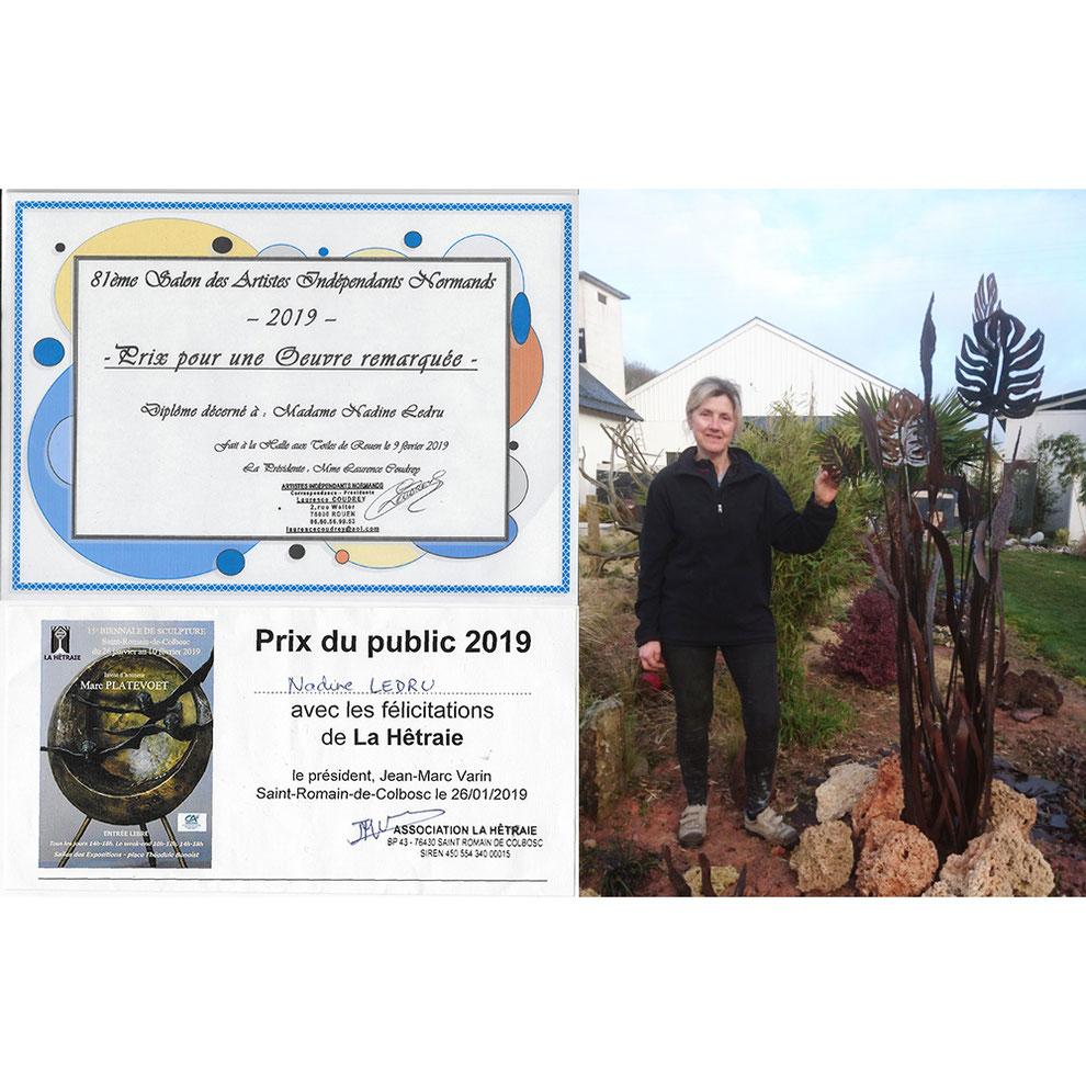 Nadine Ledru Création - Prix oeuvre remarquée au Salon des Artistes indépendants de Rouen 2019 - Prix du public 2019 à la Biennale de Sculpture de Saint Romain de Colbosc