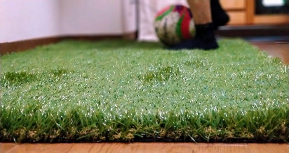 部屋の中でトレーニングできる家トレ用人工芝。芝の長さが40mmあるので、まるで本物のようにフカフカ。体幹トレーニングやっても肘が痛くなりません。