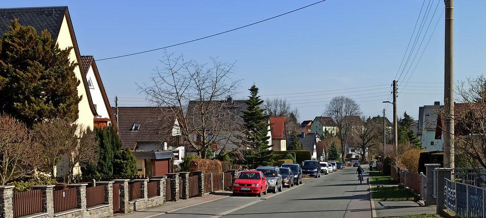 Chemnitz-Mittelbach: Blick von Aktienstraße in Richtung Hofer Straße