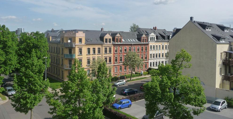 """Chemnitz-Altendorf: Teilgebiet """"Hinterer Kaßberg"""" (Blick auf die Ricarda-Huch-Straße Kreuzung Gustav-Adolf-Straße)"""