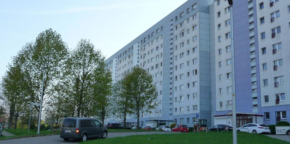 Chemnitz-Morgenleite: Blick auf Wohngebäude an der Bruno-Granz-Straße