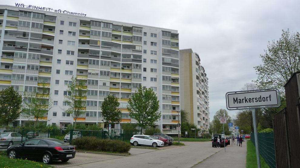 Chemnitz-Markersdorf: Blick auf die Alfred-Neubert-Straße Kreuzung Ludwig-Kühn-Straße