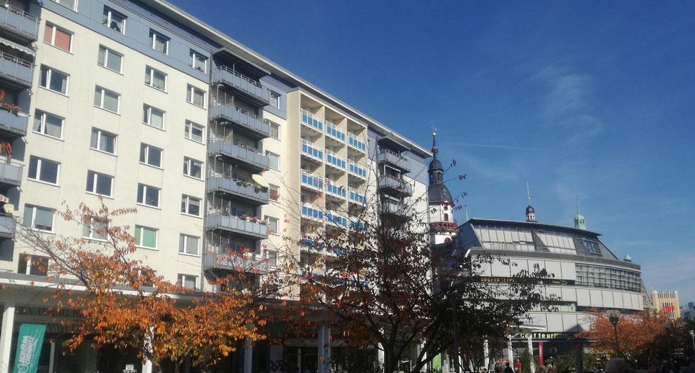 Chemnitz-Zentrum: Blick vom Rosenhof Richtung Rathaus