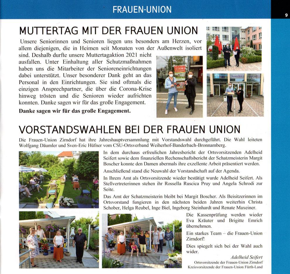 Aktivitäten der Frauen Union Zirndorf - Muttertagsaktion bei den Senioren und Vorstandswahlen mit Adelheid Seifert