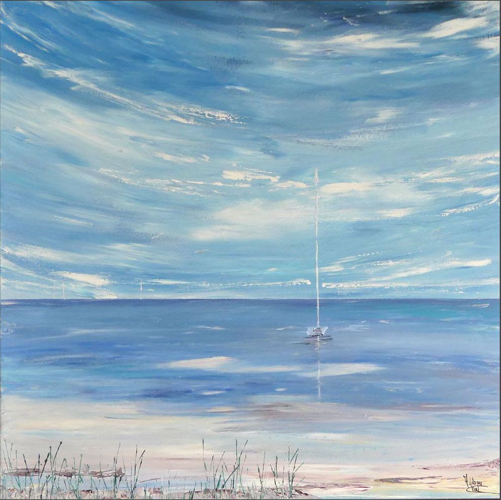 tableau-carre-ocean-ciel-decoration-marine-expresionnisme-abstrait-Audrey-chal-artiste-peintre-francaise-charente-maritime