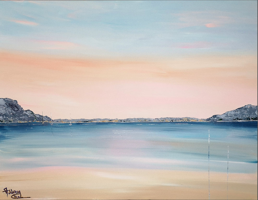 tableau-marin-coucher-de-soleil-ocean-montagne-orange-bleu-peinture-marine-artiste-peintre-charente-maritime-audrey-chal