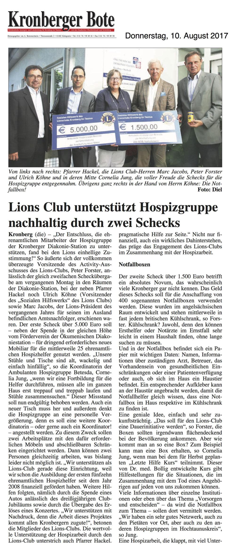 Kronberger Bote Artikel Lions Club unterstützt Hospizgruppe nachhaltig durch zwei Schecks - Lions Kronberg