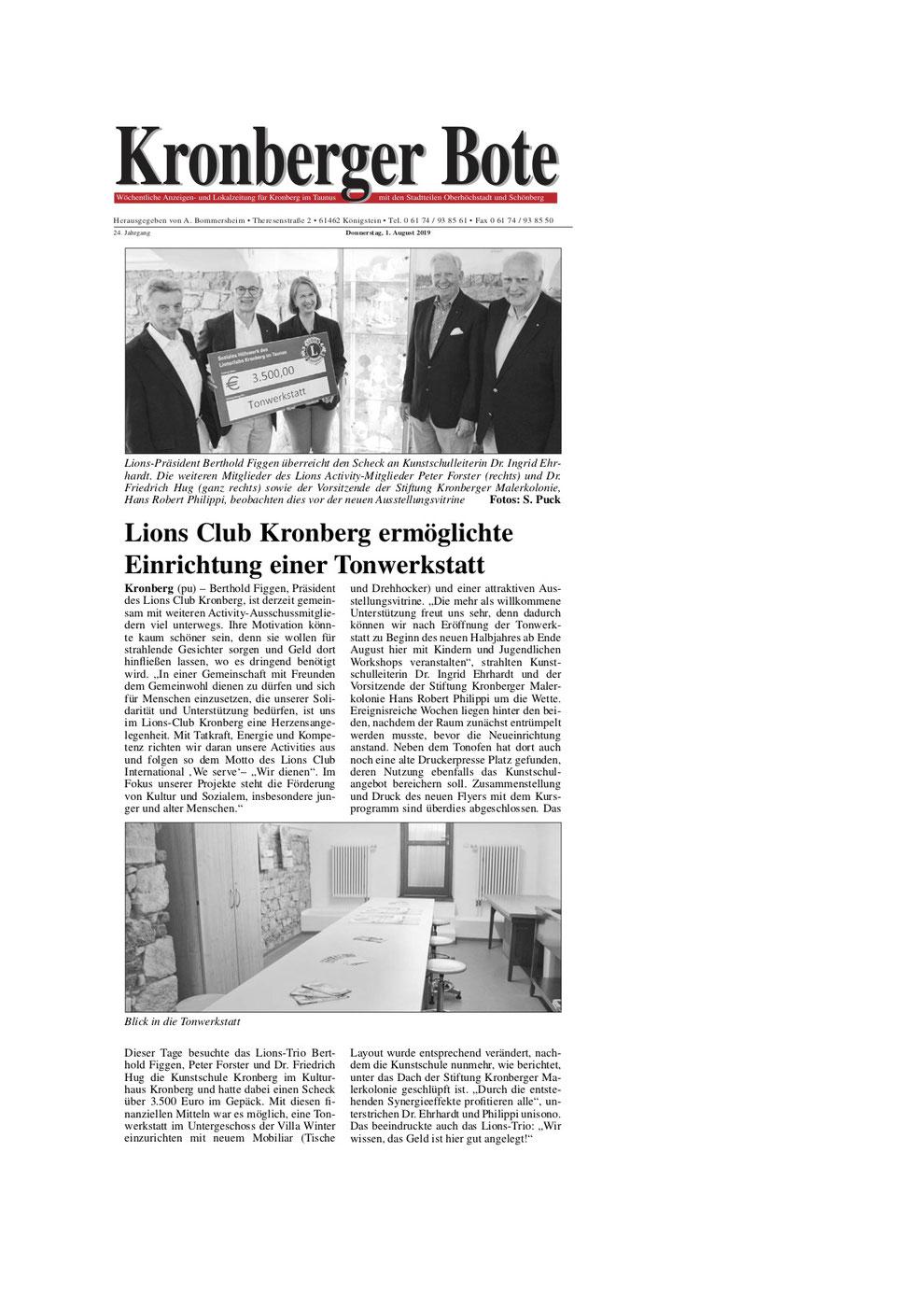Kronberger Bote Artikel Lions Club Kronberg ermöglichte Einrichtung einer Tonwerkstatt - Lions Kronberg