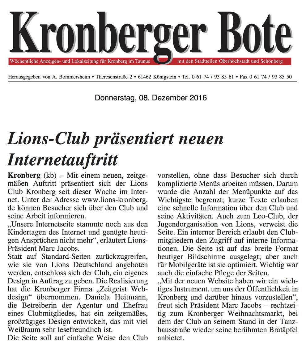 Kronberger Bote Artikel Lions-Club präsentiert neuen Internetauftritt - Lions Kronberg
