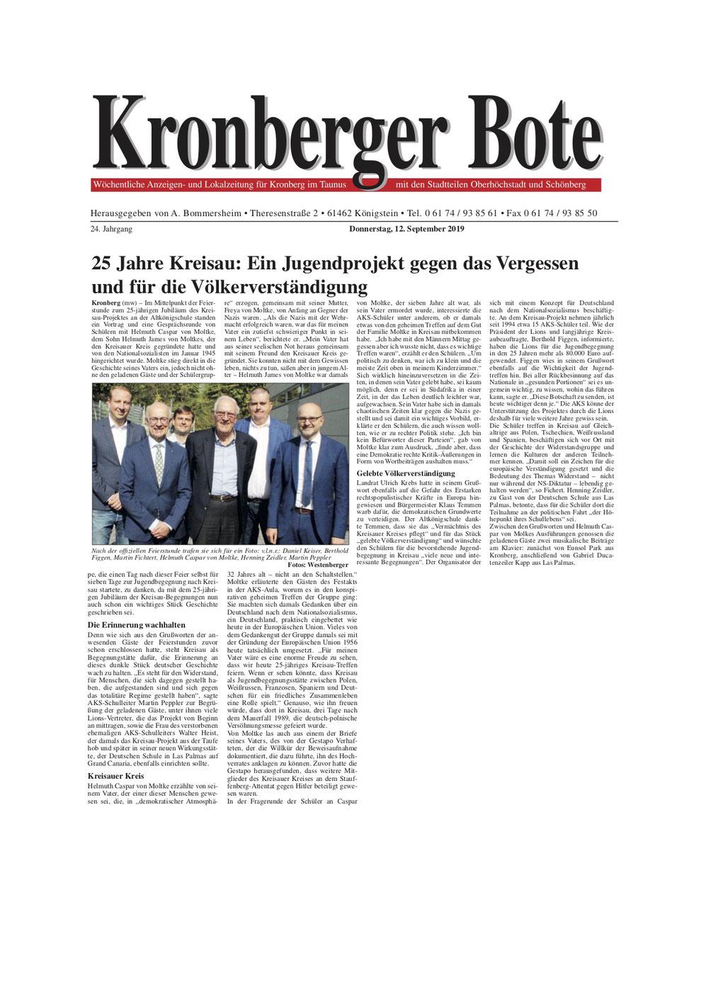 Kronberger Bote Artikel 25 Jahre Kreisau: Ein Jugendprojekt gegen das Vergessen und für die Völkerverständigung - Lions Kronberg