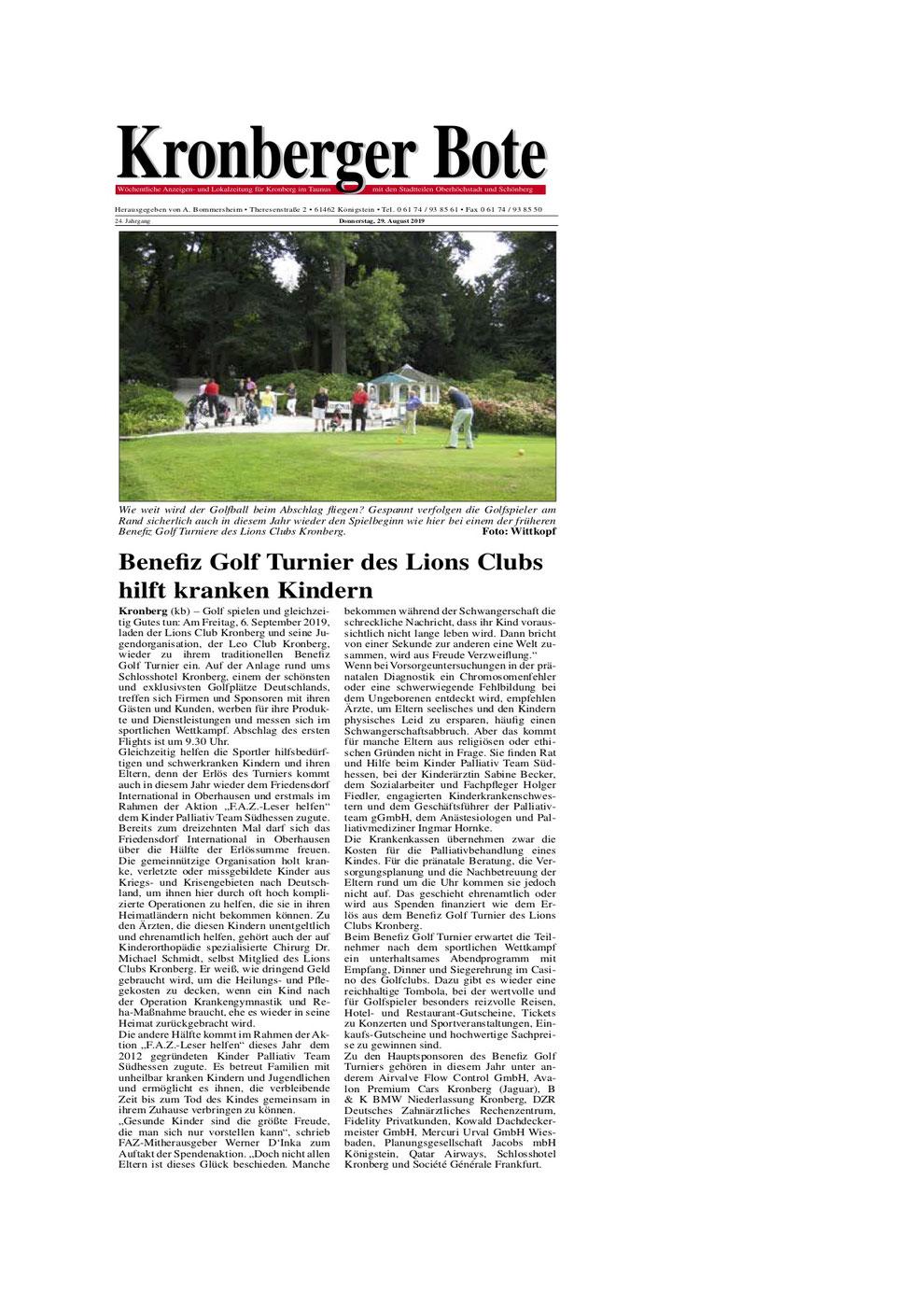 Kronberger Bote Artikel Benefiz Golf Turnier des Lions Clubs hilft kranken Kindern - Lions Kronberg