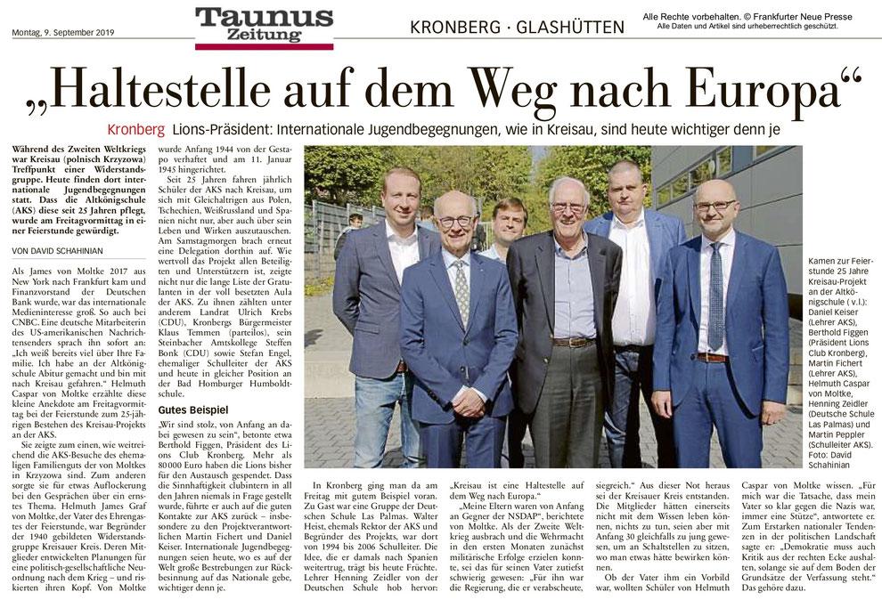 Taunus Zeitung Artikel Haltestelle auf dem Weg nach Europa - Jugendbegegnung Kreisau - Lions Kronberg
