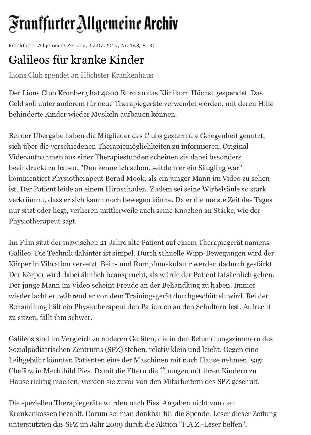 FAZ Artikel Galileos für kranke Kinder - Lions Kronberg