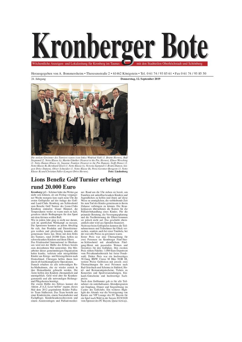 Kronberger Bote  Artikel Lions Benefiz Konzert erbringt rund 20.000 Euro - Lions Kronberg