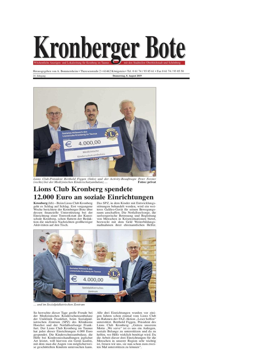 Kronberger Bote Artikel Lions Club Kronberg spendete 12.000 Euro an soziale Einrichtungen - Lions Kronberg