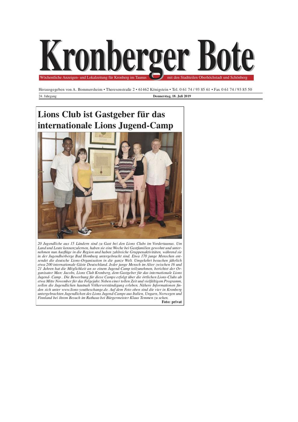 Kronberger Bote Artikel Lions Club ist Gastgeber für das internationale Lions Jugend-Camp - Lions Kronberg