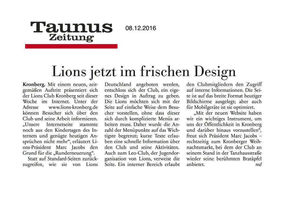 Taunus Zeitung Artikel Lions jetzt im frischen Design - Lions Kronberg