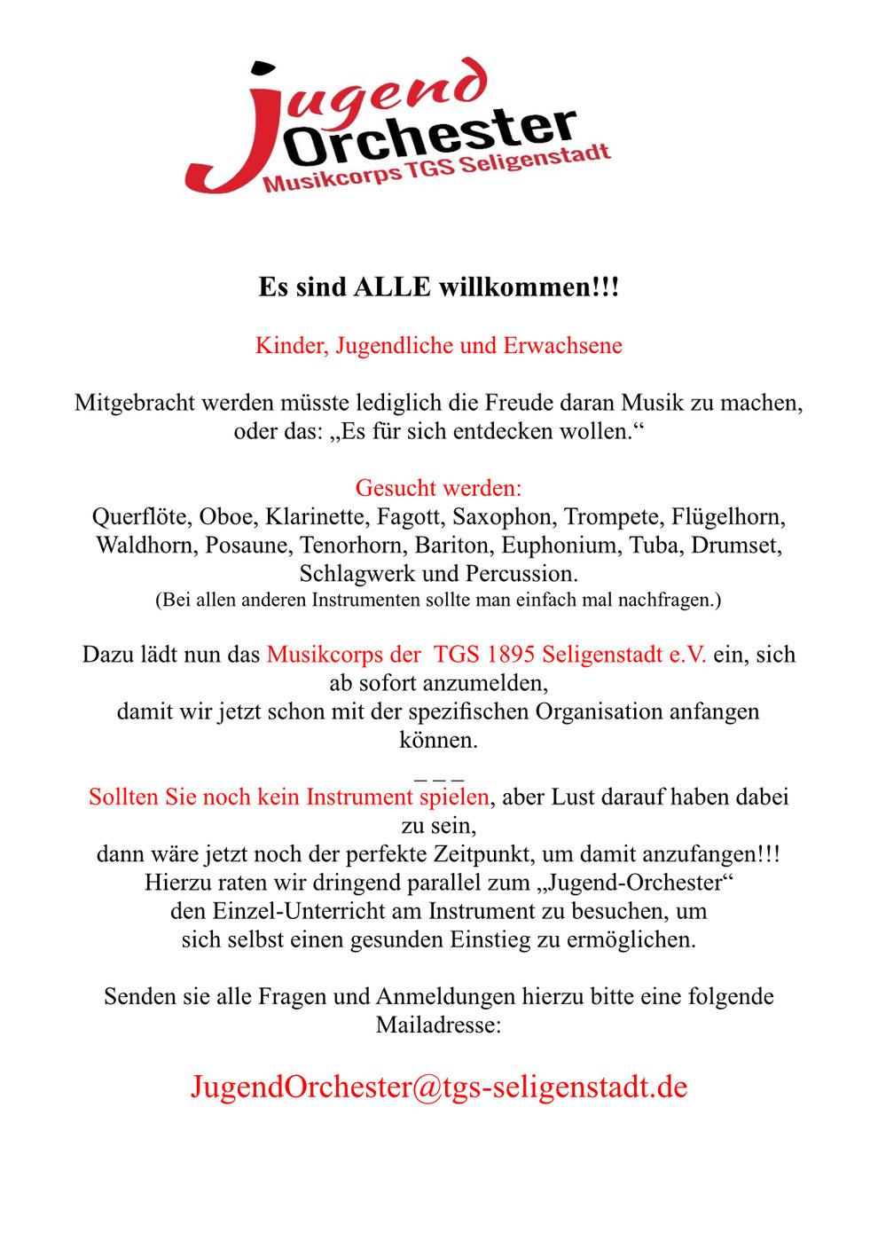 Jugendorchester Musikcorps TGS Seligenstadt