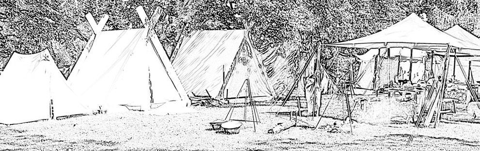 Unser Lager auf Burg Stargard - 1 A-Zelt, 2 Wikis, Feuerstelle und Sitzecke samt Sonnensegel