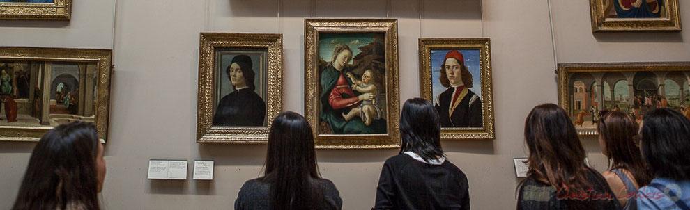 Portraits de jeunes hommes, la Vierge et l'Enfant, dite Madone des Guidi de Faenza, Alessandro Filipepi dit Botticelli, Le Salon carré, Musée du Louvre