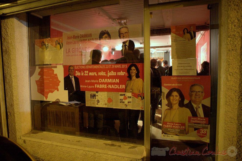 Créon, permanence électorale des candidats Jean-Marie Darmian et Anne-Laure Fabre-Nadler, et de leur colistiers Gérard Poisbelaud et Mathilde Feld (liste P.S.-E.E.L.V.-P.R.G)