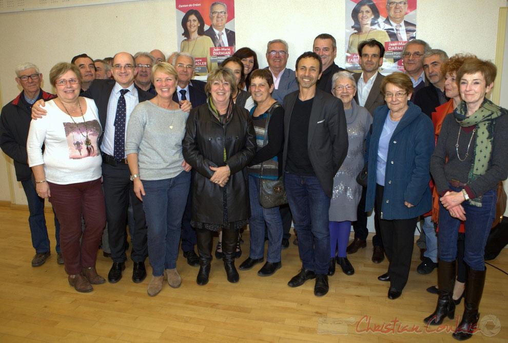 Campagne électorale, élections départementales 2015. Anciens et nouveaux élus des communes du Canton de Créon
