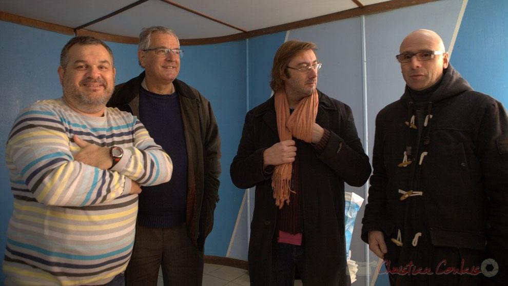 Michel Moulin, Président de Créon 700 ans, Pierre Gachet, Maire de Créon, Jan-Luc Delage, Metteur en scène, Jean Samenayre, Adjoint au maire