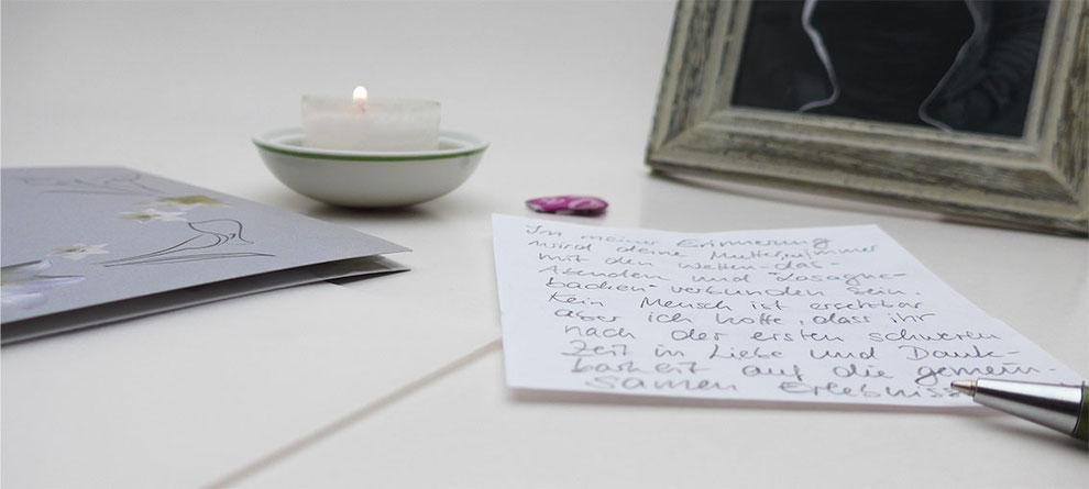 Trauerkarte schreiben persönliche Worte, Beispiele, Wohlfühloase