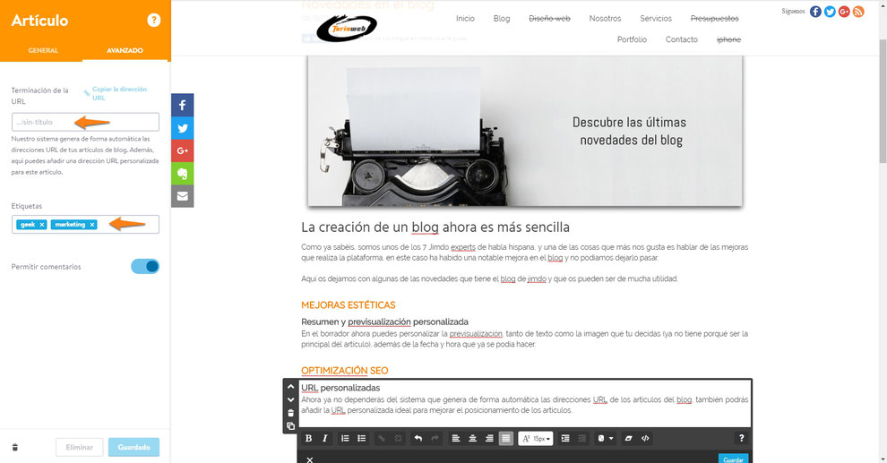 Margen izquierdo: Personalización de URL y etiquetas.