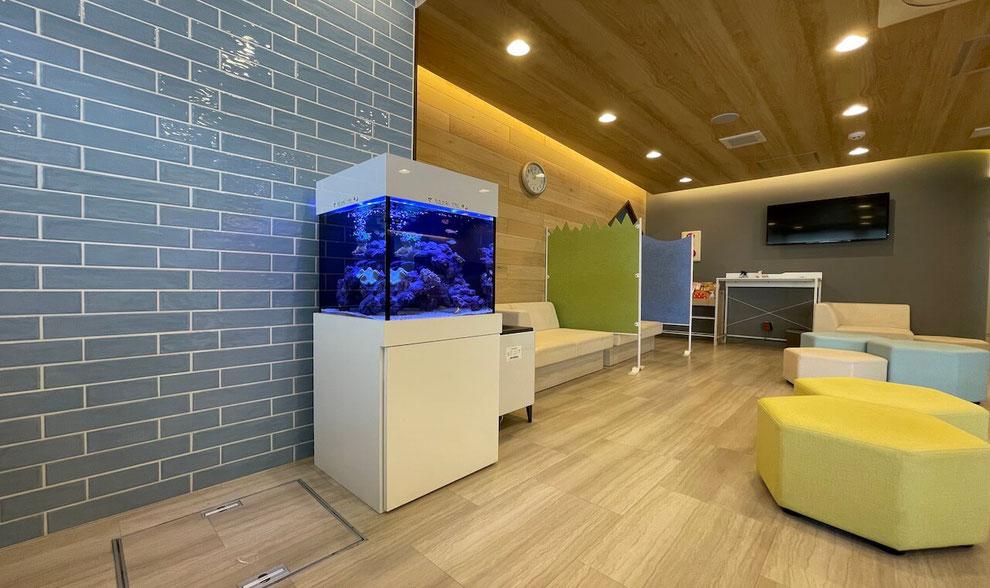 病院の内装を考えたアクアレンタリウムの水槽レンタルを説明