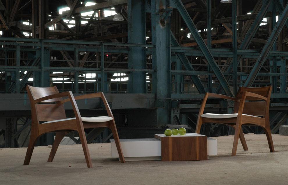 Lounge Sessel in Nussbaum und weißem Leder