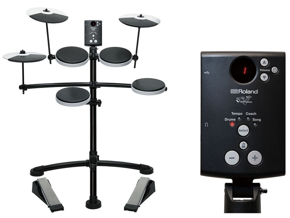 TD-1 Drum Modul mit 15 Drum Kits und 15 Songs, 10 Coaching Funktionen, Metronom, LED Display, USB, Mix IN, Kopfhörerausgang, 1x Trigger Input, 4x Snare and Tom Tom Pads, 1x Crash Pad, 1x Ride Pad, 1x Hi-Hat Pad.